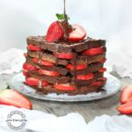 CHOCOLATE WAFFLES - Guilt free Waffles with Chocolate Syrup & Strawberries