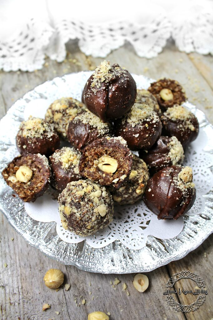 Chewy & Crunchy Chocolate Truffles with Whole Hazelnut in the Centre