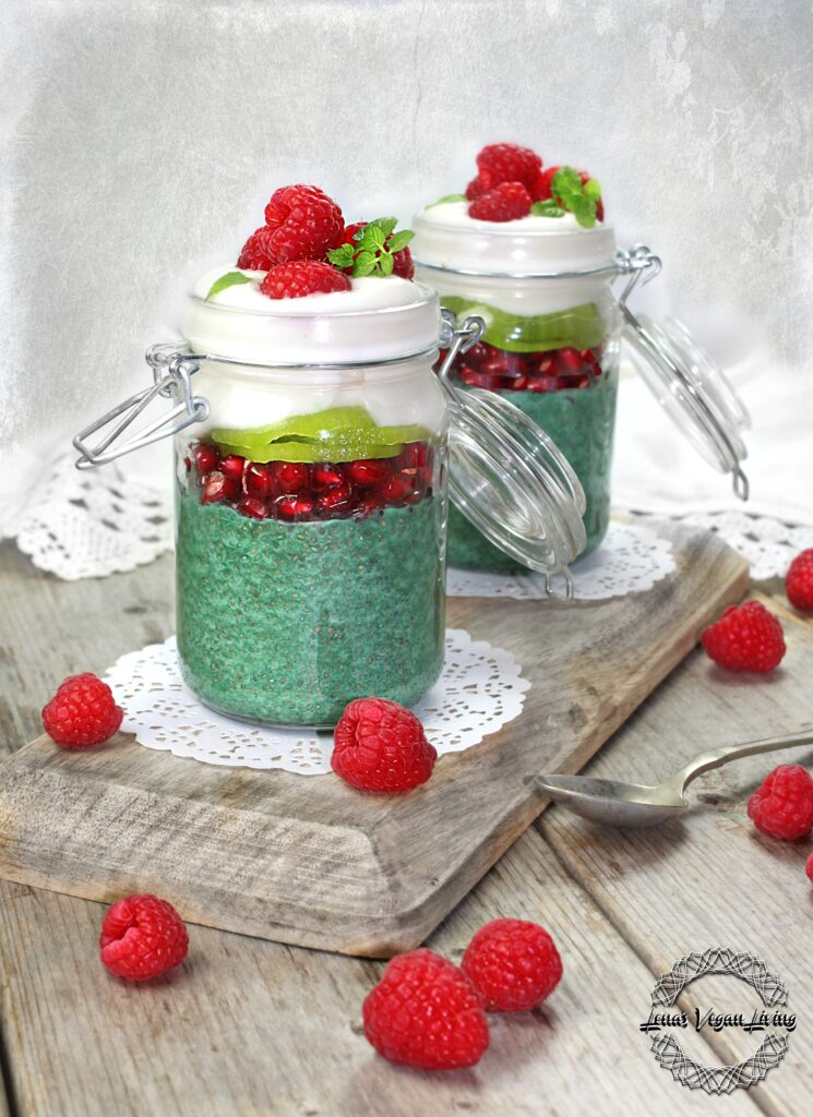 GREEN CHIA PARFAIT - Chia Pudding with Green Spirulina & Fruit