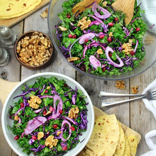 Finely sliced Kale with Red Cabbage mixed with Walnuts & Pomegranate