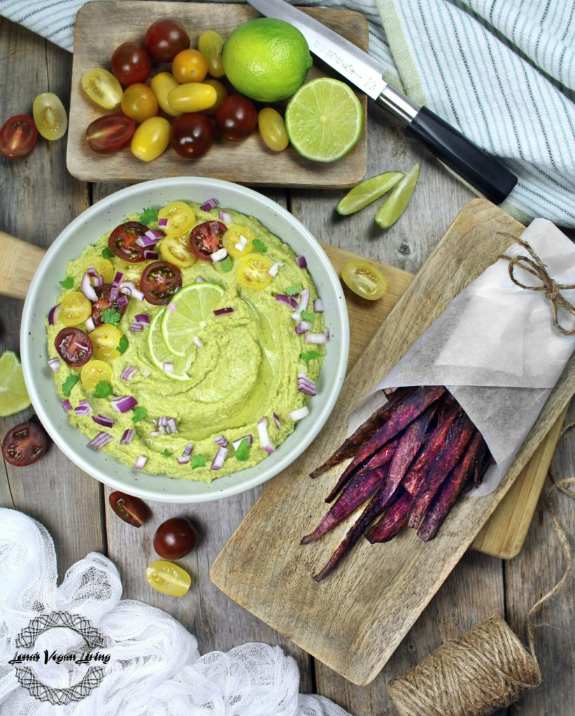 GREEN HUMMUS - Traditional Hummus with Fresh Coriander & Purple Oven Baked Fries