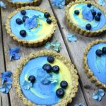 Superfood Easter Tarts with Mango - Blue Spirulina Filling & Granola Crust