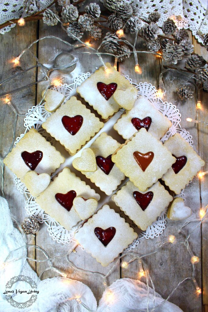 Christmas Linzer Cookies with Homemade Strawberry Chia Jam.